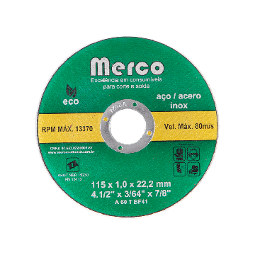 DISCO DE CORTE INOX 115 X 1 X 22,2 MM - 4.1/2 MERCO