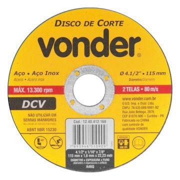 DISCO CORTE 2 TELAS INOX 115MM X 1,6MM X 22,23MM