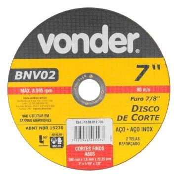 DISCO CORTE 2 TELAS INOX 180MM X 1,6MM X 22,23MM