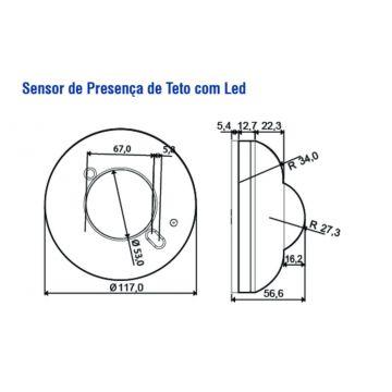 SENSOR DE PRESENCA TETO C/ LED